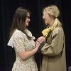 "Mykayla Swearngin, sophomore, left, and Paisley Freund, freshman, rehearse a scene from the one-act play ""June"" on Thursday at Joplin High School.<br /> Globe 