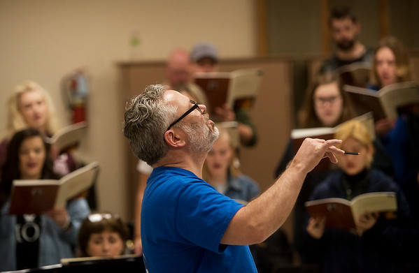 David Sharlow leads the Missouri Southern Concert Chorale on Wednesday at MSSU.<br /> Globe | Roger Nomer