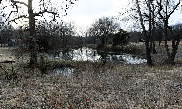 A spring fed pond sits on Mark and Jennifer Renfro's Diamond property on Tuesday. The land is targeted for a Missouri American Water proposed reservoir and has been in the Renfro family for 170 years.<br /> Globe | Laurie Sisk