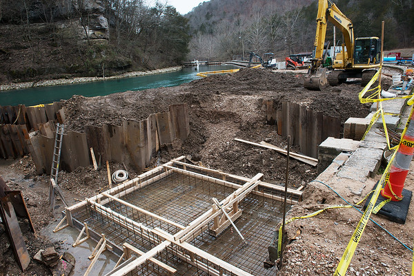Construction continues at the Roaring River State Park fish hatchery on Thursday.<br /> Globe | Roger Nomer