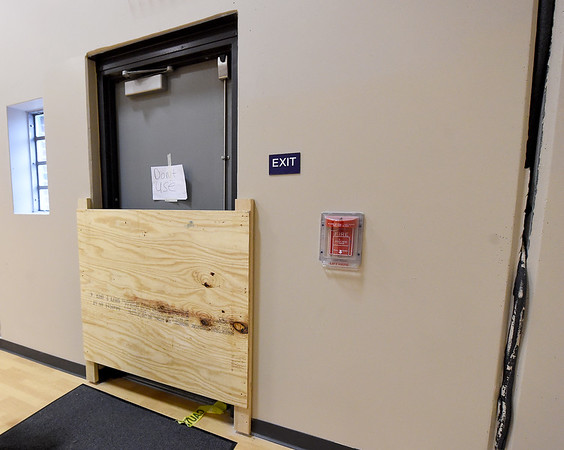 An exit door is blocked from use because of damage to Columbia Elementary's recently constructed safe room.<br /> Globe | Laurie SIsk