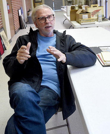 Artist Jim Bray shares a brief history of his development as an artist on Friday at the Joplin Museum Complex. Bray currently has an extensive exhibit on display at the museum.<br /> Globe   Laurie SIsk