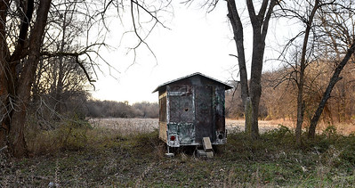 A hunting blind rests near a cornfield on Mark Renfro's Diamond property on Tuesday. The land is targeted for a Missouri American Water proposed reservoir and has been in the Renfro family for 170 years. Abundant turkey and deer have been a longtime source of hunting for Renfro and his family. Globe | Laurie Sisk