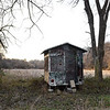 A hunting blind rests near a cornfield on Mark Renfro's Diamond property on Tuesday. The land is targeted for a Missouri American Water proposed reservoir and has been in the Renfro family for 170 years. Abundant turkey and deer have been a longtime source of hunting for Renfro and his family.<br /> Globe | Laurie Sisk