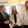 (from left) Sen. Roy Blunt, talks with Kansas City University of Medicine and Biosciences Joplin students Abigail Finder, Tanner Riscoe and Brandi Norman, campus psychologist, during his visit to the KCU Joplin campus on Friday.<br /> Globe | Roger Nomer