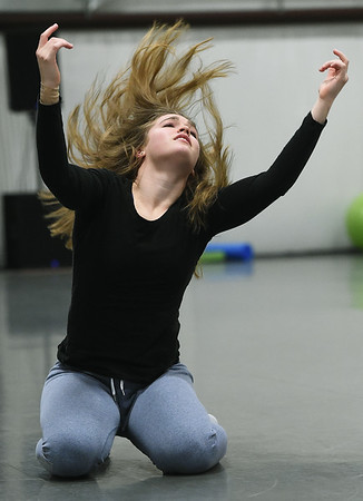 """Midwest Regional Ballet's Kim Sager rehearses her role as Suicide for """"Black and White"""" on Wednesday night at MRB.<br /> Globe 