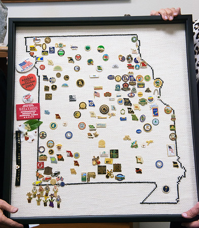 Missouri state pins are displayed on a map.<br /> Globe   Roger Nomer