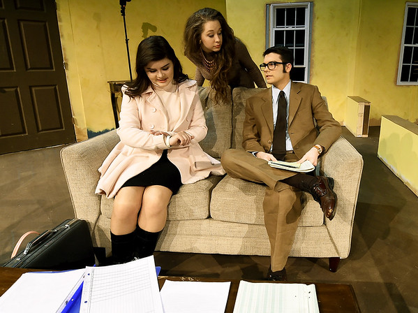 """From the left: Chansey Rhodes (as Jean McCormick,) Chelsie Jeffries (Karen Nash) and Kaden Propps (Sam Nash) rehearse their roles for the first act of """"Plaza Suite on Tuesday at Missouri Southern.<br /> Globe   Laurie Sisk"""