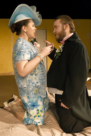 """From the left: Kayley Baumhover portrays Norma as Austin Henady portrays Roy during rehearsal for the third act of """"Plaza Suite"""" on Tuesday at Missouri Southern.<br /> Globe 