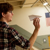 Eli Lawson, a Seneca High senior, competes in a paper airplane competition during Engineering Day at Crowder College on Wednesday.<br /> Globe | Roger Nomer