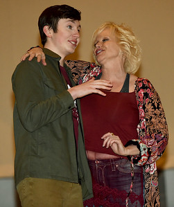 Jakob Buter, left, helps Marilyn Marshall rehearse her role for the Joplin Little Theatre's Valentine Concert on Wednesday night at JLT.  Globe | Laurie Sisk