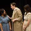 "(from left) Julieta Delgado, senior, Jakob Butler, senior, and Mykayla Swearngin, sophomore, rehearse a scene from the one-act play ""June"" on Thursday at Joplin High School.<br /> Globe 