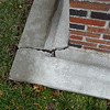 A large crack appears on recent concrete work on the east side of the Columbia Elementary School grounds.<br /> Globe | Laurie Sisk