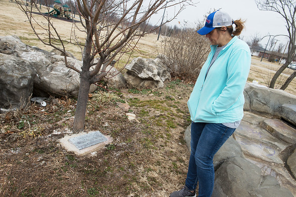 Katrin Herd talks about a memorial to her son at Parr Hill Park on Monday.<br /> Globe | Roger Nomer
