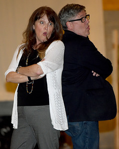 From the left: Shannon and Karl Wendt rehearse for the Joplin Little Theatre's Valentine Concert on Wednesday night at JLT.  Globe | Laurie Sisk