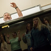 David Sharlow leads the Missouri Southern Concert Chorale through warmups on Wednesday at MSSU.<br /> Globe | Roger Nomer
