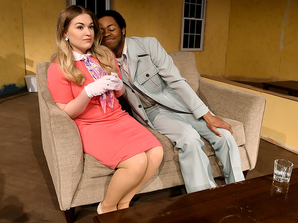 """From the left: Carly Ball portrays Muriel as Hulon Smith portrays Jesse Kiplinger during rehearsal for the second act of """"Plaza Suite"""" on Tuesday at Missouri Southern.<br /> Globe 