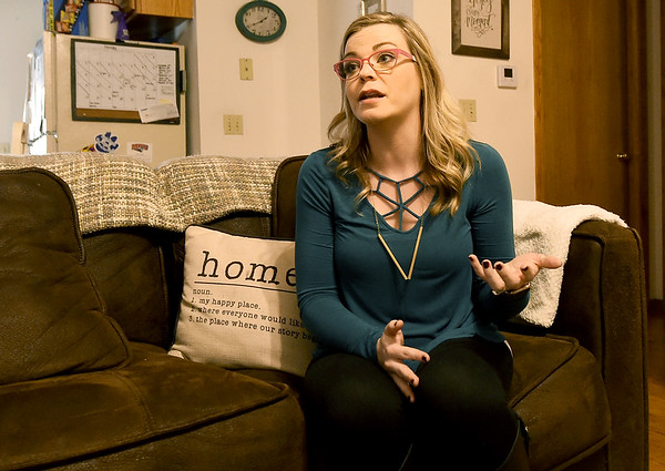 Cancer survivor Lucy Phillips talks about her history with cervical cancer on Wednesday in her Carthage home.<br /> Globe | Laurie Sisk
