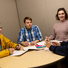 One-act play writers and directors (from left) Del Stanley, Matthew Parrot, Sophie Stoebel and Jacy Beeler, all seniors, talk about their upcoming performances at Joplin High School on Thursday.<br /> Globe | Roger Nomer