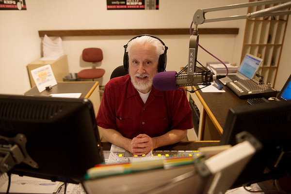 Long-time on-air announcer Matthew Whitt talks about his job at KRPS on Wednesday.<br /> Globe   Roger Nomer