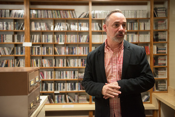 Tim Metcalf talks about the music library at KRPS on the campus of Pittsburg State University on Wednesday.<br /> Globe | Roger Nomer