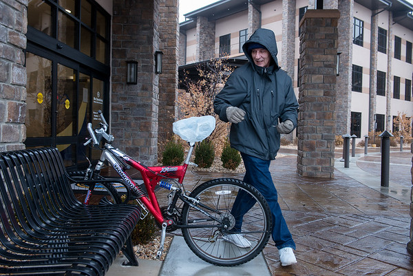 Since his primary means of transportation is his bike, David Driscoll welcomes having a VA Clinic in Joplin.<br /> Globe | Roger Nomer