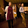 From the left: Ashley and Zachary King teach patrons steps during swing dance lessons at the Joplin Avenue Coffee Company on Thursday night. <br /> Globe | Laurie Sisk