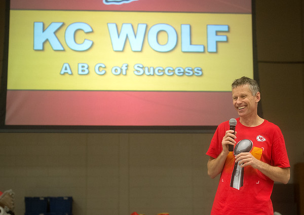 """Dan Meers, also known as KC Wolf, gives a talk about on the """"ABCs of Success"""" to students at Cecil Floyd Elementary on Thursday.<br /> Globe 