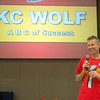 "Dan Meers, also known as KC Wolf, gives a talk about on the ""ABCs of Success"" to students at Cecil Floyd Elementary on Thursday.<br /> Globe 