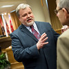 City manager candidate Darin Chappell (left) talks with Clifford Wert, president and CFO of Connect2Culture, during a public meet and greet at Joplin City Hall on Monday.<br /> Globe | Roger Nomer