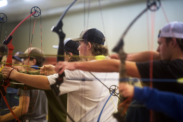 Jeremiah Jones, junior at Carl Junction High School, practices with the Carl Junction High School archery team on Monday. Globe | Roger Nomer