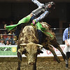 """Dalton Krantz, of Otho Iowa, opens the competition with a successful ride on """"Twisted Style"""" during the LJ Jenkins Bull Riding Tour Finals on Saturday night at Memorial Hall.<br /> Globe 
