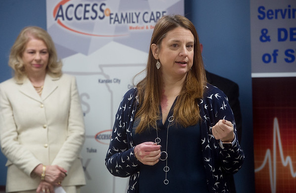 Stephanie Brady, executive director at the Community Clinic in Joplin, talks about the need for Medicaid expansion in Missouri on Thursday at Access Family Care. Globe | Roger Nomer