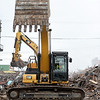 Demolition continues on the former First Baptist Church in preparation for construction of the new Jasper County Courthouse on Seventh and Pearl on Tuesday.<br /> Globe | Laurie Sisk