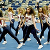 Members of the Joplin High School Dance Team amp up the crowd during the Homecoming Pep Rally on Wednesday night at Kaminsky Gymnasium. Students and members of the community gathered to recognize the winter sports teams, choirs and more during the rally.<br /> Globe | Laurie Sisk
