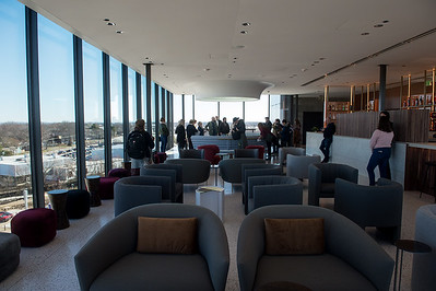The retro-themed Tower Bar atop the Momentary offers an overlook of the city of Bentonville. Globe | Roger Nomer