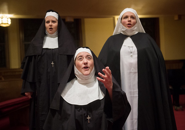 "(from left) Kendra Switzer, Kelli Van Meter and Heidi Smorstad sing a part from ""Suor Angelica"" on Wednesday at the First United Methodist Church in Joplin. The performance of the opera will take place a Joplin Memorial Hall. Globe 