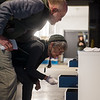 """Bill Browner and Carrie Trinka, from Fayetteville, Ark., look at Jill Downen's """"Three Dimensional Sketchbook"""" on display at the Momentary on Friday in Bentonville, Ark.<br /> Globe 
