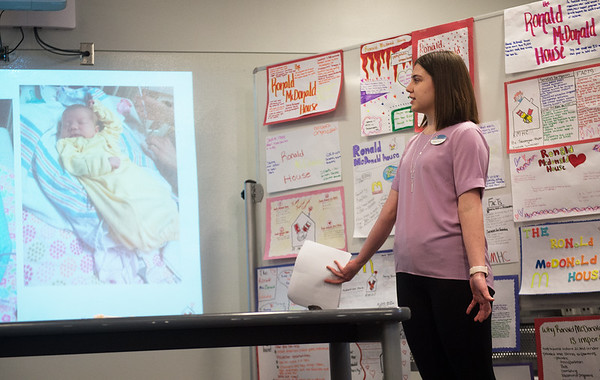 Hannah Newland talks about staying at a Ronald McDonald House in Kansas City while her daughter Adelyn Garcia was in the NICU. Newland visited the Child Development class at Joplin High School on Friday to talk about the services provided by the Joplin Ronald McDonald House, where she and her daughter now volunteer.<br /> Globe | Roger Nomer