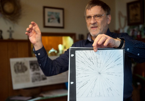 Brad Baker talks about a diagram his mother Norma drew while in a prison camp in Manila to keep track of American soldiers' movement for the underground resistance on Feb. 10 in Webb City.<br /> Globe | Roger Nomer
