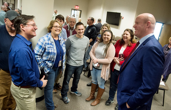City manager candidate Nick Edwards (right), talks with a group of Joplin city employees during a public meet and greet at Joplin City Hall on Monday.<br /> Globe | Roger Nomer