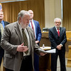 Joplin Mayor Gary Shaw introduces the candidates for city manager during a public meet and greet at Joplin City Hall on Monday.<br /> Globe | Roger Nomer