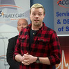 Patrick Burrows talks about his life without medical insurance on Thursday at Access Family Care.<br /> Globe | Roger Nomer
