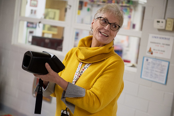 Kandis Pendley, school nurse at Pleasant Valley Elementary in Carthage, talks about using a vision screening machine on Friday at the school.<br /> Globe | Roger Nomer