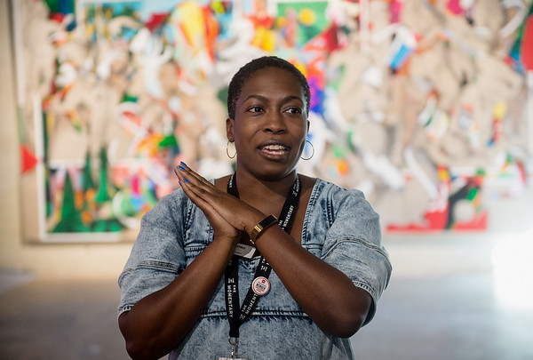 "Lauren Haynes, curator of visual arts at the Momentary, gives an introduction to ""State of the Art 2020"" on display at the Momentary in Bentonville, Ark., on Friday. Globe 