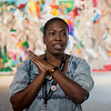 "Lauren Haynes, curator of visual arts at the Momentary, gives an introduction to ""State of the Art 2020"" on display at the Momentary in Bentonville, Ark., on Friday.<br /> Globe 