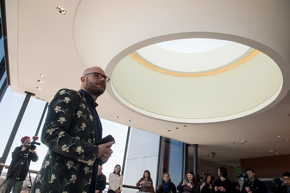 Lieven Bertels, director at the Momentary, talks about the museum's Tower Bar during a tour on Friday. Globe | Roger Nomer