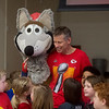 Kansas City Chiefs mascot Dan Meers talks with students at Cecil Floyd Elementary on Thursday.<br /> Globe | Roger Nomer