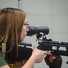 Hannah Rearrick, senior at Webb City High School, aims during rifle practice on Tuesday at the school.<br /> Globe | Roger Nomer