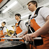 Globe/T. Rob Brown<br /> Joplin High School junior Hayden Murphy (right) and senior Chris Phillips (center, both with the Joplin Eagle Pride Drumline perform during the grand re-opening event Wednesday evening, Jan. 11, 2012, for The Home Depot on Range Line Road in Joplin.
